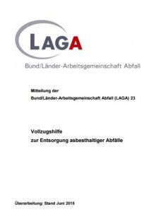 LAGA Merkblatt M 23 zur Entsorgung asbesthaltiger Abfälle: Asbestentsorgung