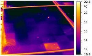 Wärmebildaufnahme einer Solarzelle